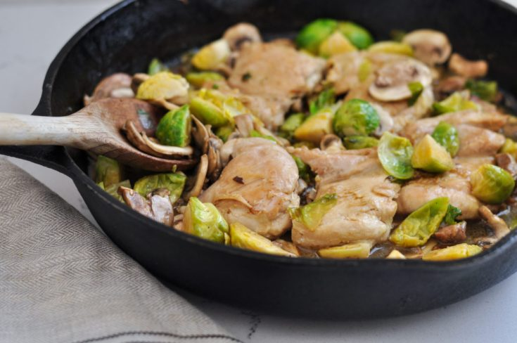 Creamy Chicken and Brussels Sprouts One Pan Meal