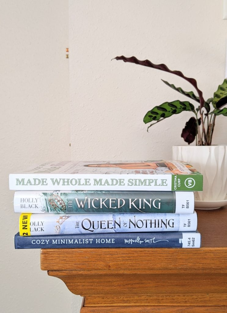 Stack of books with a plant in the background