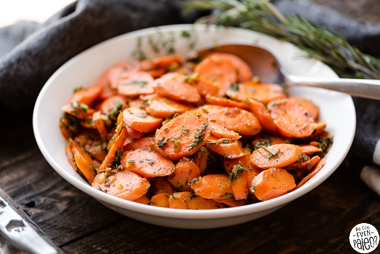 Bowl of herbed garlic carrots