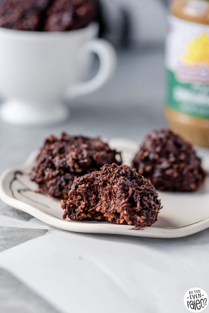 Closeup of Sunbutter Chocolate Coconut Macaroons