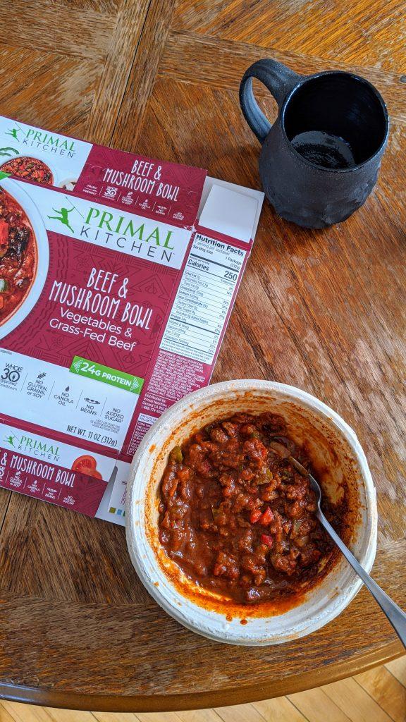 primal kitchen foods beef & mushroom bowl frozen meal