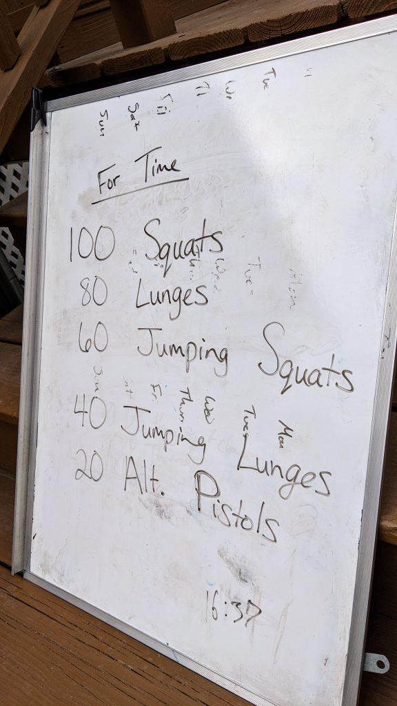 White board with a home workout