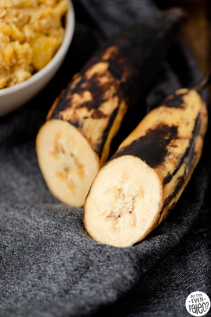 Closeup of ripe plantains sliced in half