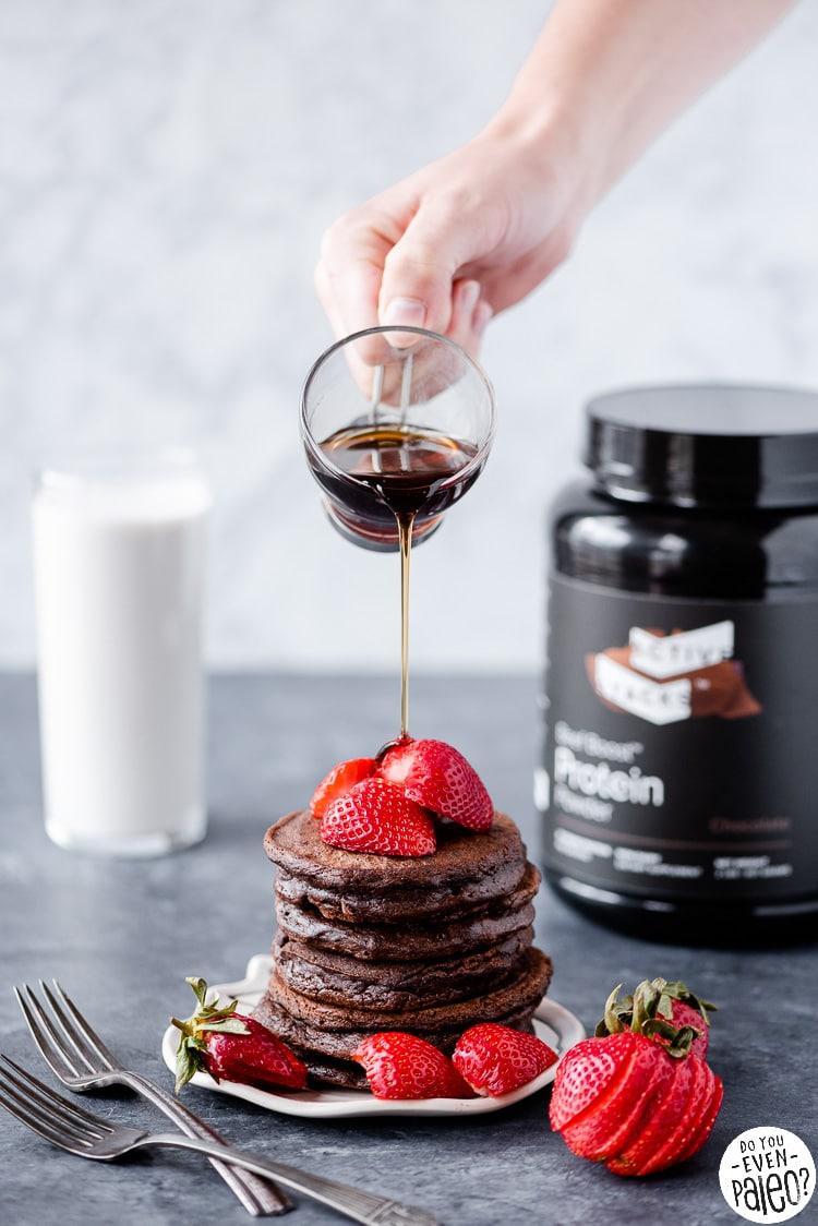 Whey-free chocolate protein pancakes