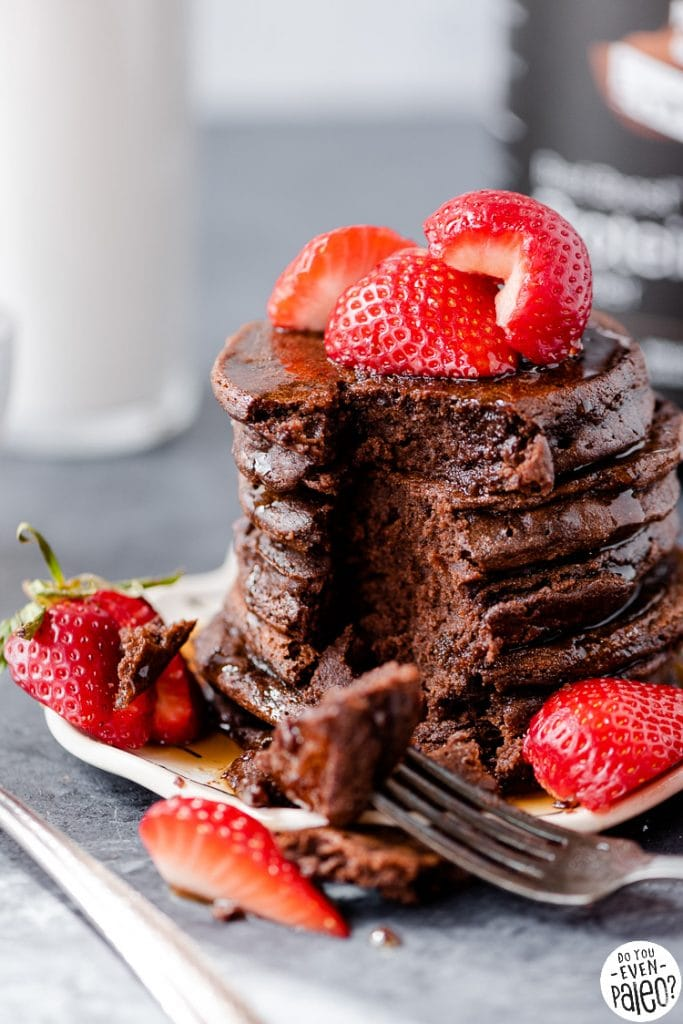 Closeup of Active Stacks Chocolate Protein Pancakes