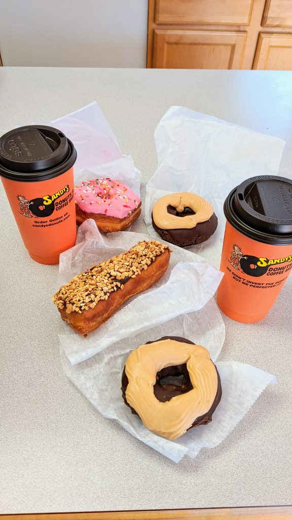 Donuts and coffee from Sandy's Donuts in Fargo