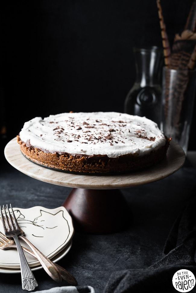 Coffee Chocolate Avocado Cream Pie on a cake stand