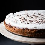 Closeup of Mocha Avocado Cream Pie with salted almond crust