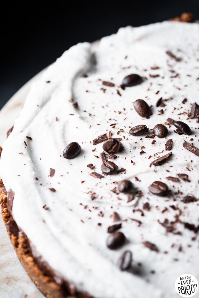 Closeup of mocha avocado cream pie