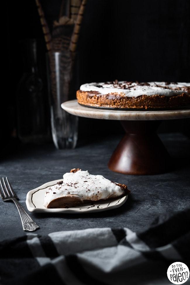 Slice of chocolate avocado pudding pie