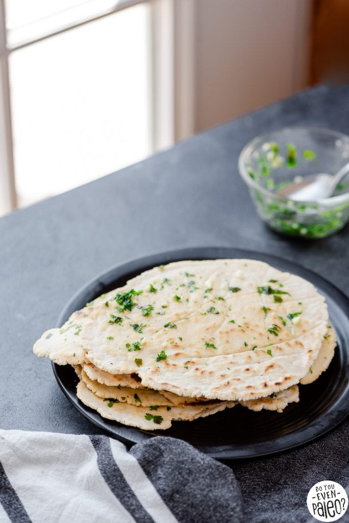 Stack of yeast free gluten free flatbreads on a plate