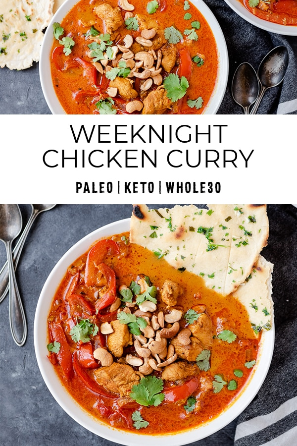 Pinterest image for weeknight chicken curry recipe