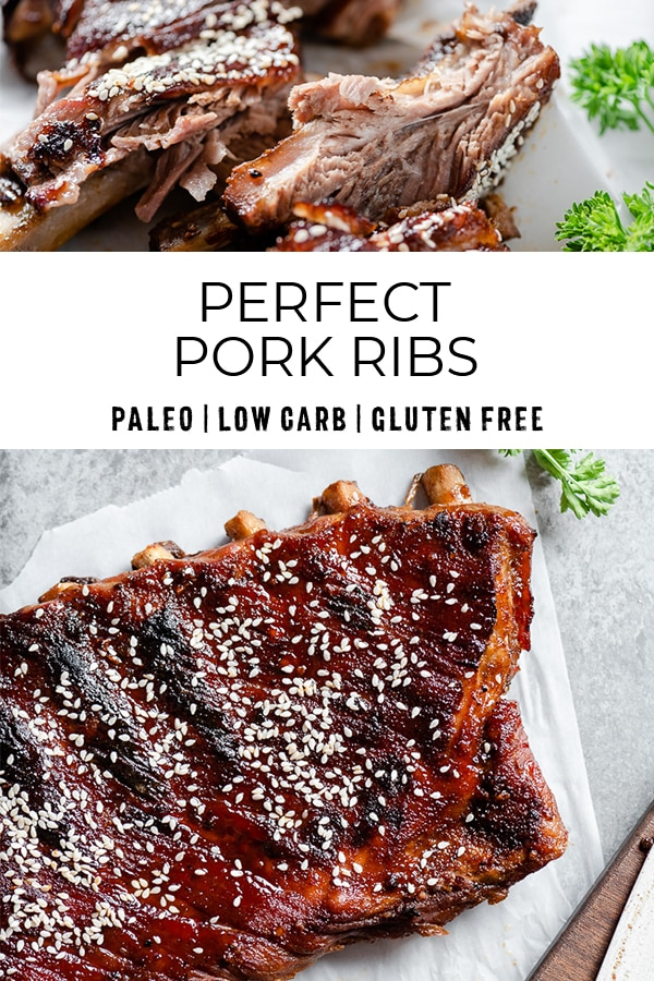 Pinterest image for perfect pork ribs that are paleo, low carb, and gluten free