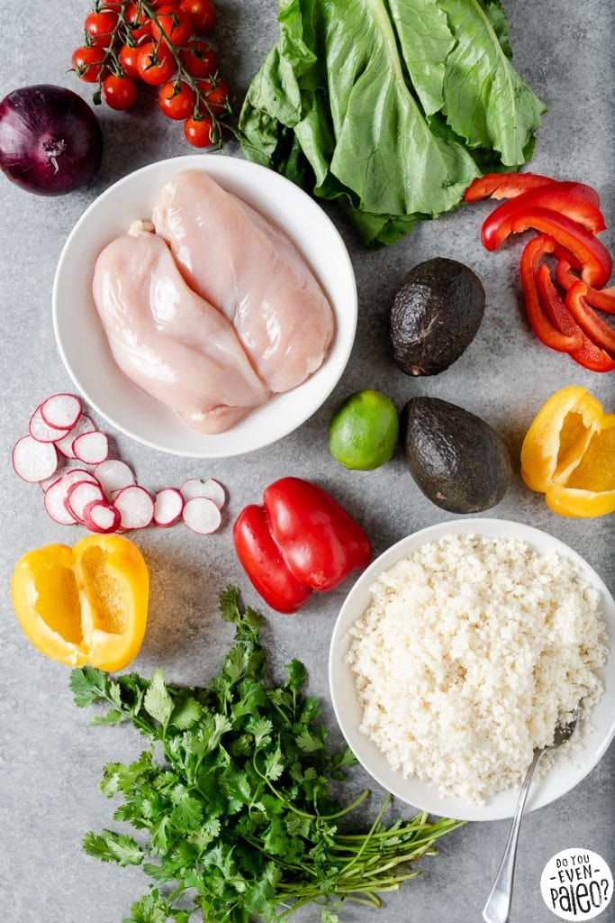 Ingredients for Whole30 chipotle chicken burrito bowls