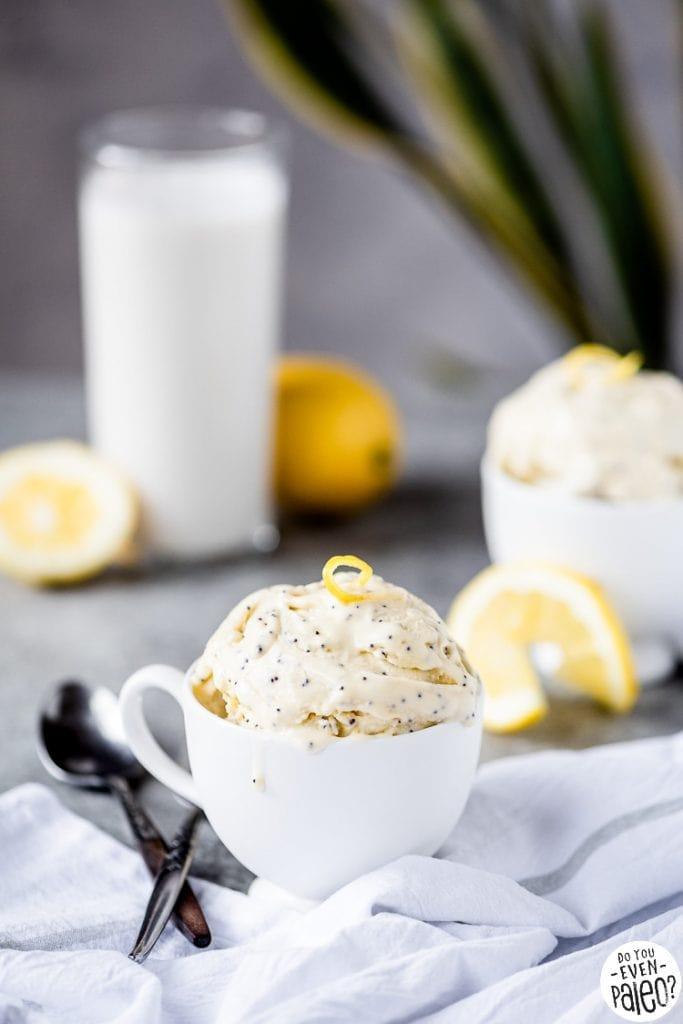 Cup of dairy free lemon poppyseed ice cream