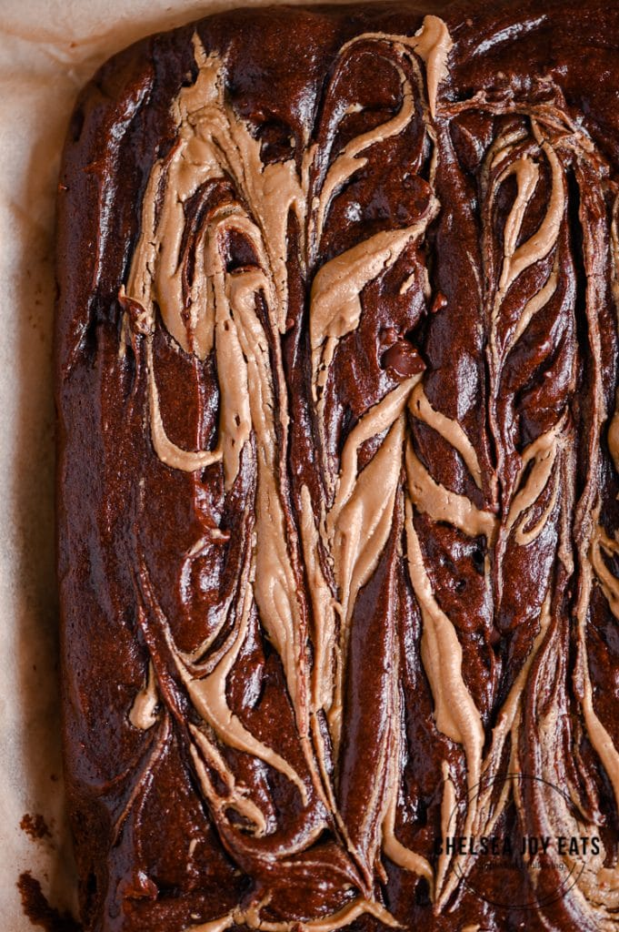 Closeup of uncut paleo brownies