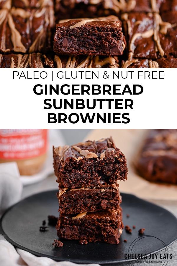 Fudgy Gluten Free Gingerbread SunButter Brownies Pinterest Image