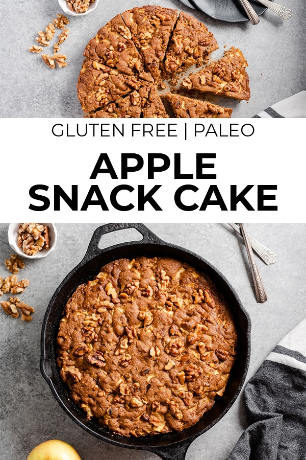 Images of gluten free apple snack cake with text overlay