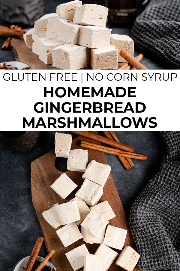 Images of gingerbread marshmallows with text overlay