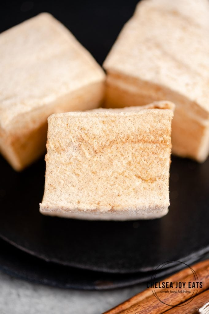 Closeup of a homemade gluten free marshmallow