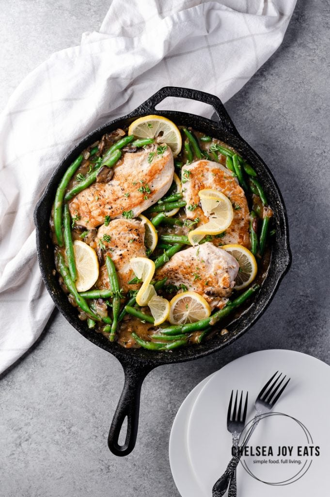 Cast iron skillet chicken with green beans and mushrooms recipe