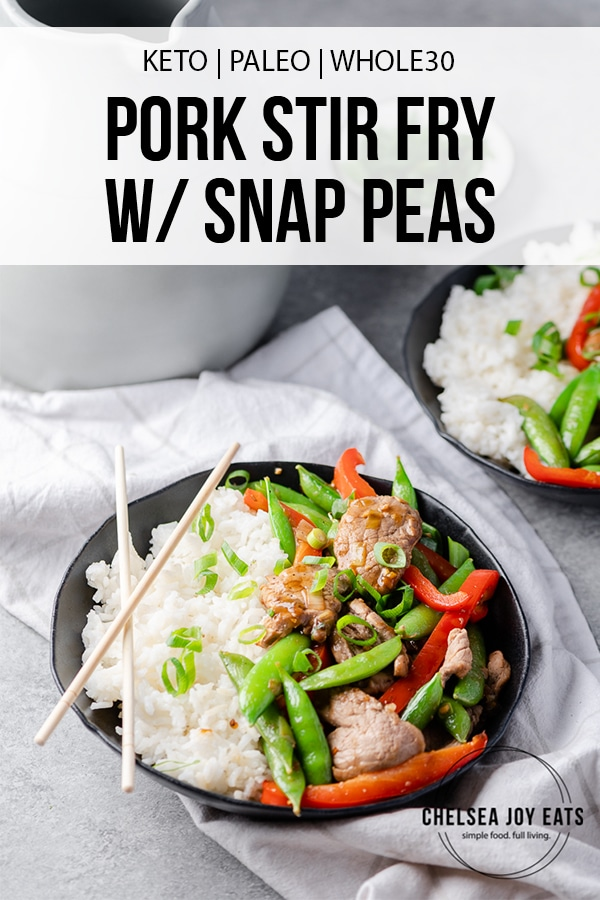 Pork stir fry in a bowl with text overlay
