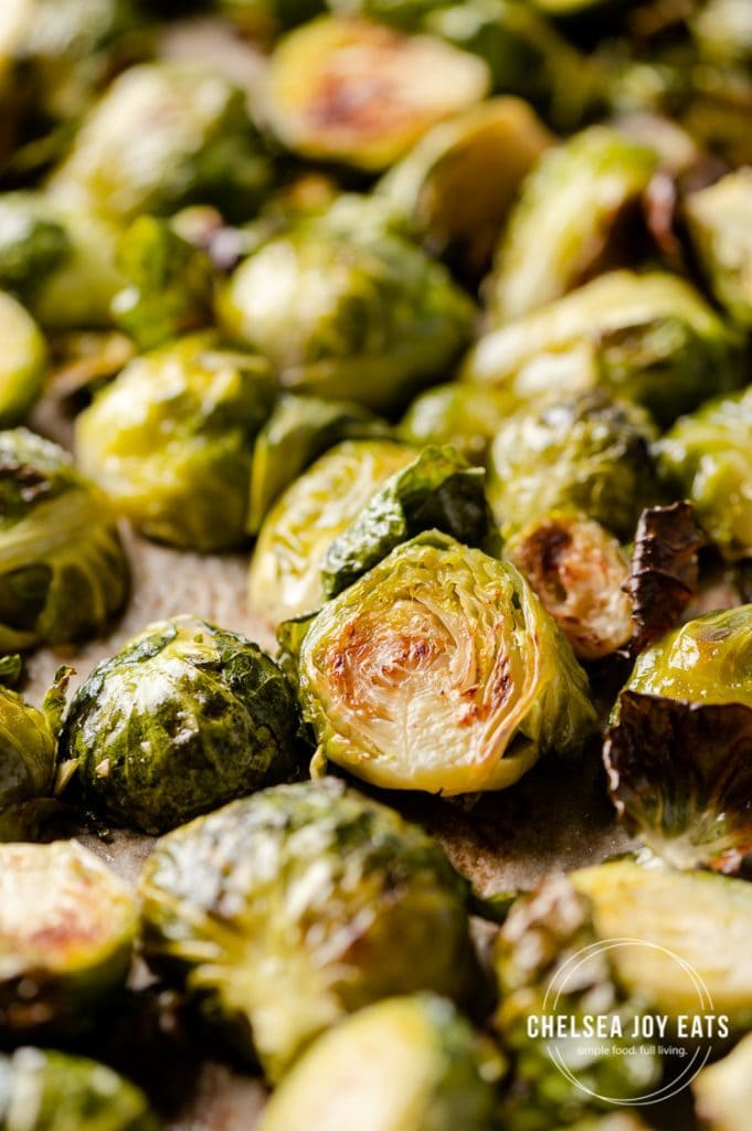 Closeup of roasted brussels sprouts