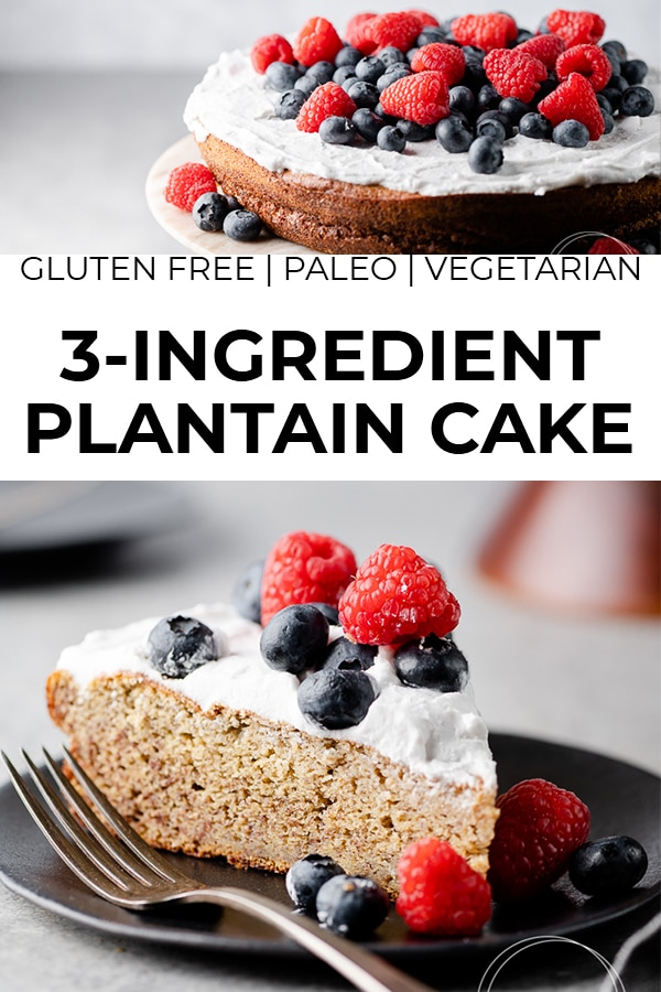 3 Ingredient Sweet Plantain Cake with text overlay