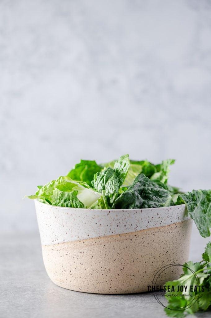 Bowl with freshly-torn romain lettuce